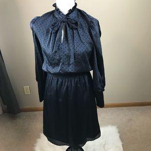 Julia Jordon Blue with Black Polka Dot Midi Dress